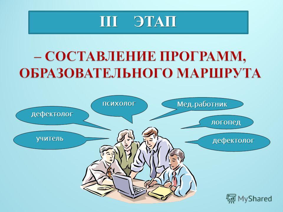 III ЭТАП дефектолог учитель психолог Мед.работник логопед дефектолог