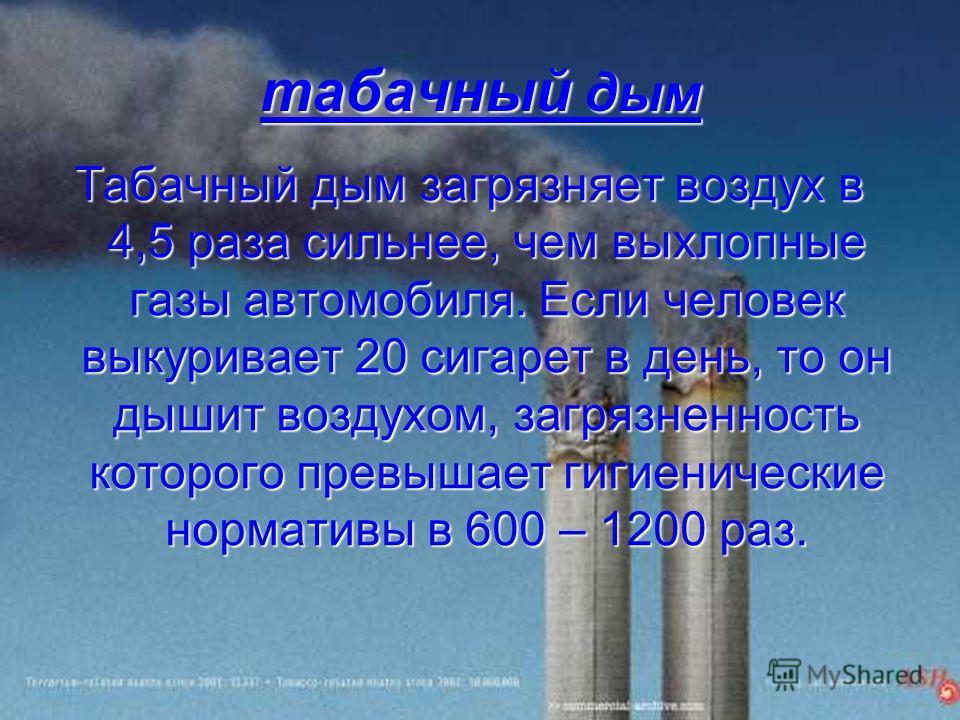табачный дым Табачный дым загрязняет воздух в 4,5 раза сильнее, чем выхлопные газы автомобиля. Если человек выкуривает 20 сигарет в день, то он дышит воздухом, загрязненность которого превышает гигиенические нормативы в 600 – 1200 раз.