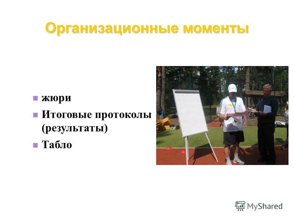 Организационные моменты жюри Итоговые протоколы (результаты) Табло