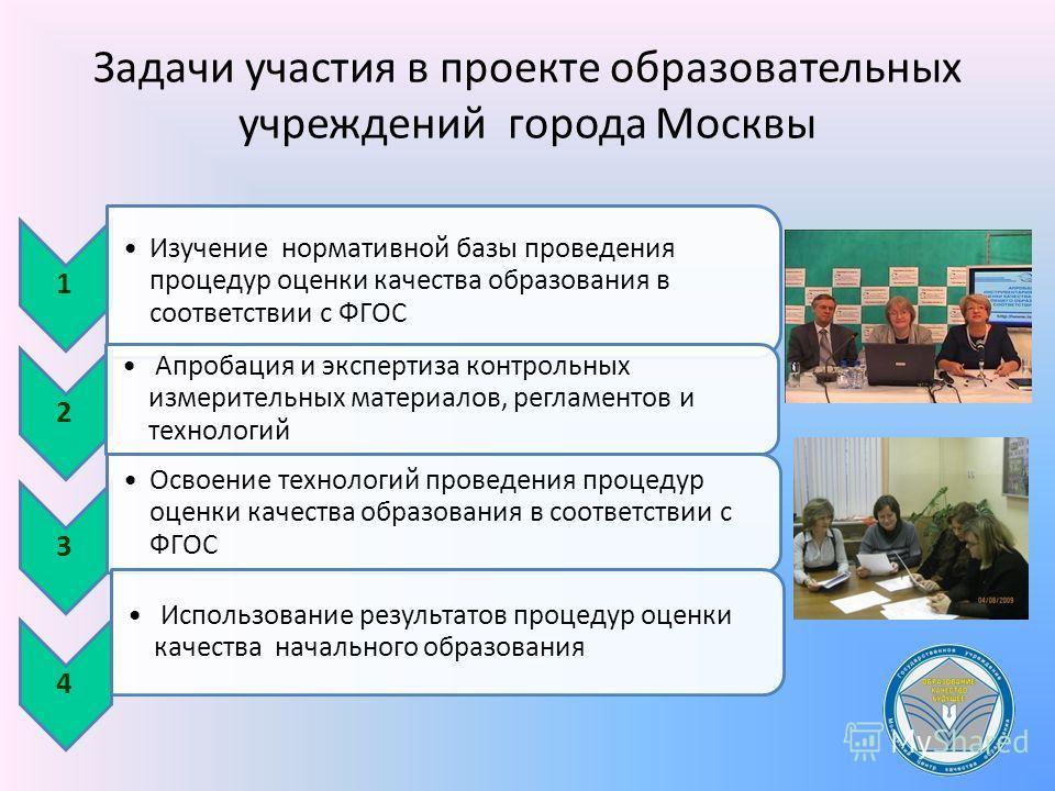 Задачи участия в проекте образовательных учреждений города Москвы 1 Изучение нормативной базы проведения процедур оценки качества образования в соответствии с ФГОС 2 Апробация и экспертиза контрольных измерительных материалов, регламентов и технологи