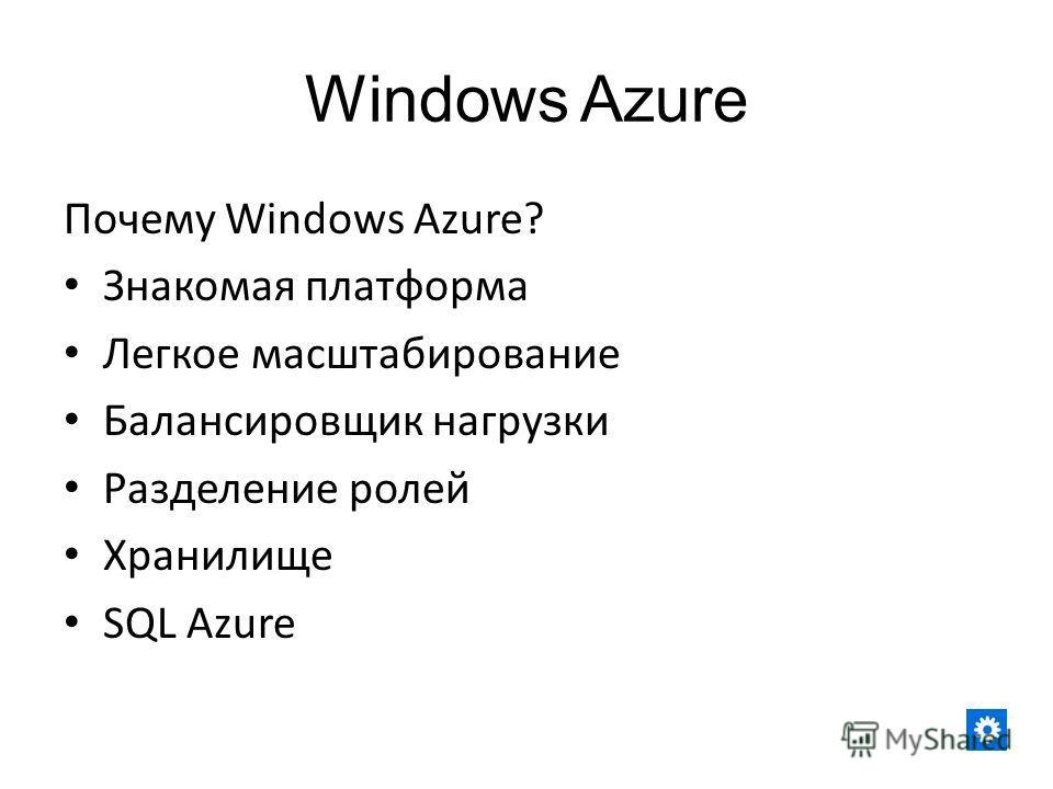Windows Azure Почему Windows Azure? Знакомая платформа Легкое масштабирование Балансировщик нагрузки Разделение ролей Хранилище SQL Azure
