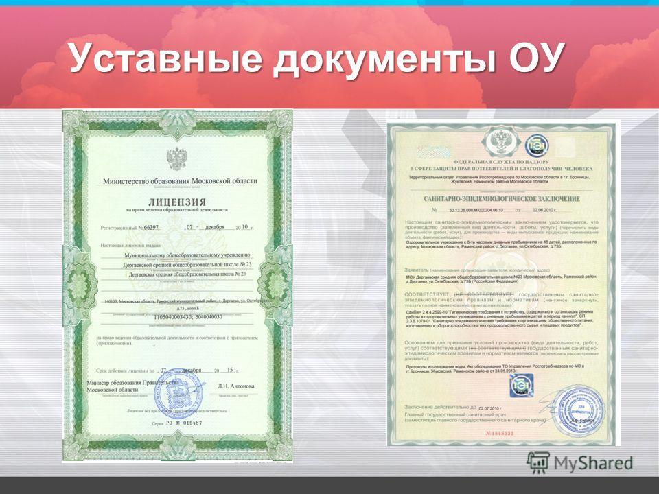 Уставные документы ОУ