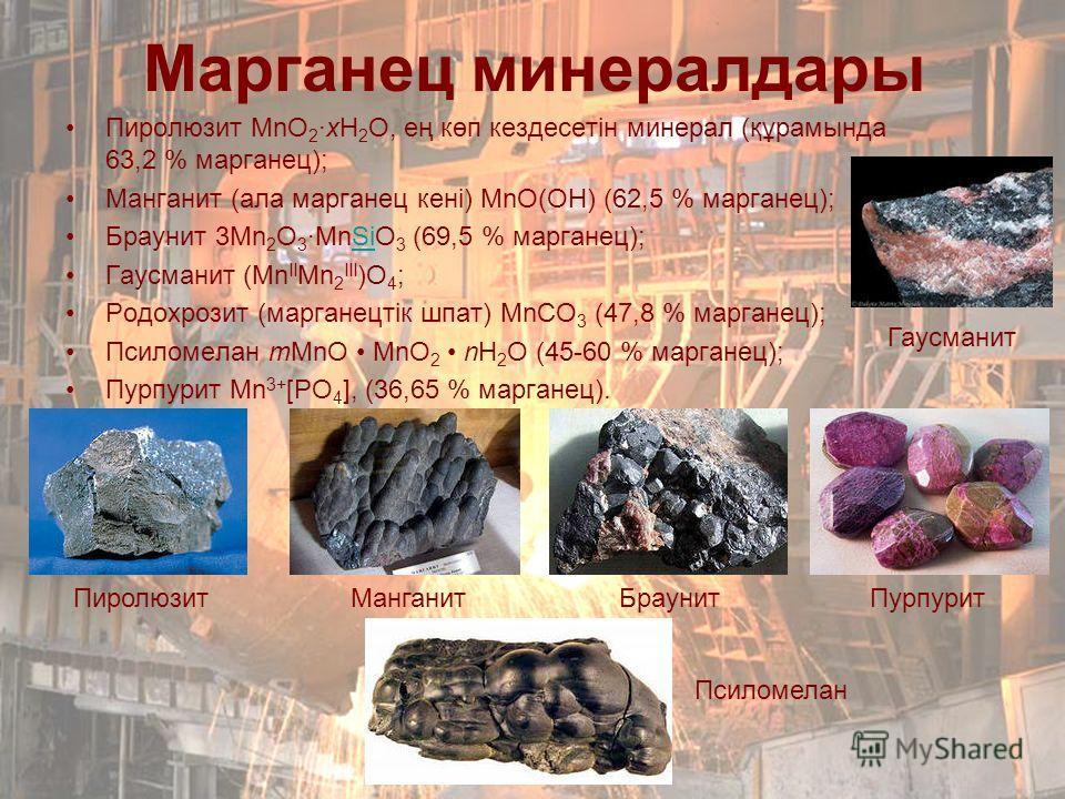 Марганец минералдары Пиролюзит MnО 2 ·xH 2 O, ең көп кездесетін минерал (құрамында 63,2 % марганец); Манганит (ала марганец кені) MnO(OH) (62,5 % марганец); Браунит 3Mn 2 O 3 ·MnSiO 3 (69,5 % марганец);Si Гаусманит (Mn II Mn 2 III )O 4 ; Родохрозит (