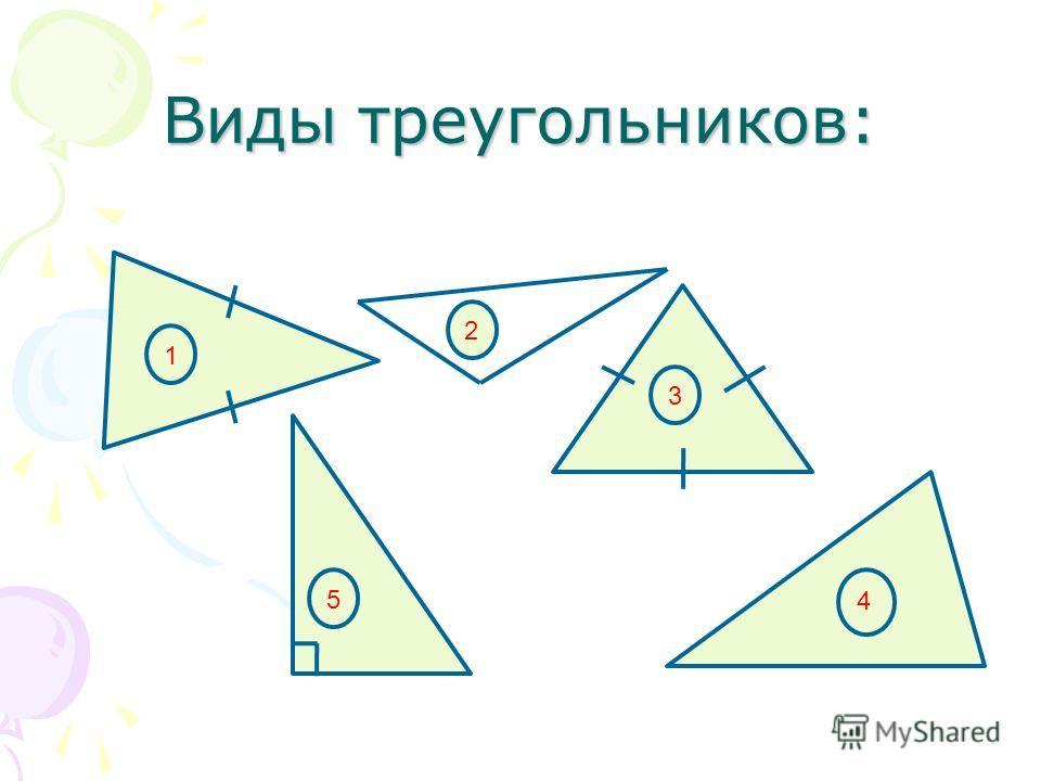 Виды треугольников: 1 2 3 5 4