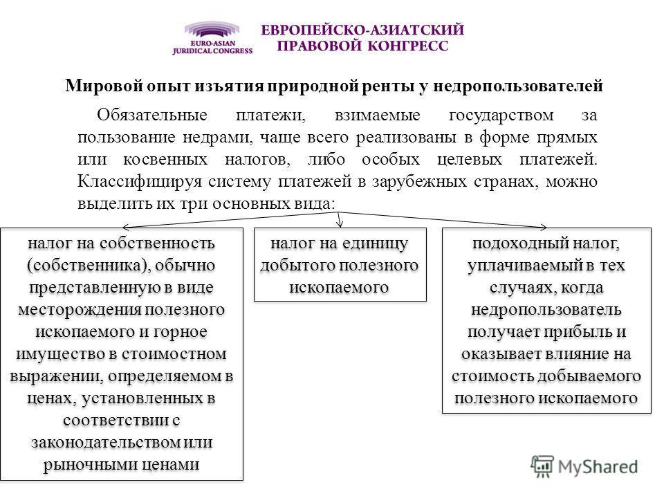 Мировой опыт изъятия природной ренты у недропользователей Обязательные платежи, взимаемые государством за пользование недрами, чаще всего реализованы в форме прямых или косвенных налогов, либо особых целевых платежей. Классифицируя систему платежей в