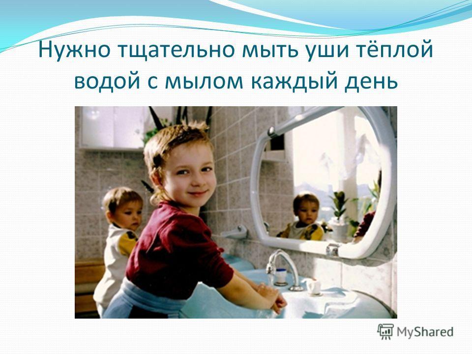 Нужно тщательно мыть уши тёплой водой с мылом каждый день