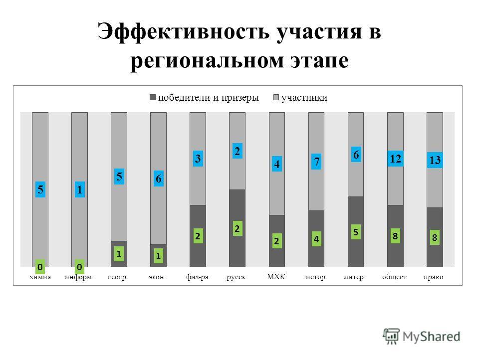 Эффективность участия в региональном этапе