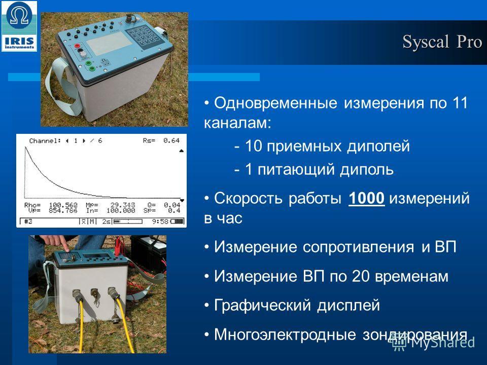 Одновременные измерения по 11 каналам: - 10 приемных диполей - 1 питающий диполь Скорость работы 1000 измерений в час Измерение сопротивления и ВП Измерение ВП по 20 временам Графический дисплей Многоэлектродные зондирования Syscal Pro
