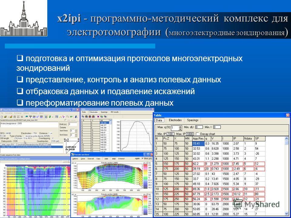 1911 x2ipi - программно-методический комплекс для электротомографии ( многоэлектродные зондирования ) подготовка и оптимизация протоколов многоэлектродных зондирований представление, контроль и анализ полевых данных отбраковка данных и подавление иск
