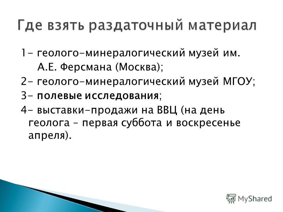 1- геолого-минералогический музей им. А.Е. Ферсмана (Москва); 2- геолого-минералогический музей МГОУ; 3- полевые исследования; 4- выставки-продажи на ВВЦ (на день геолога – первая суббота и воскресенье апреля).