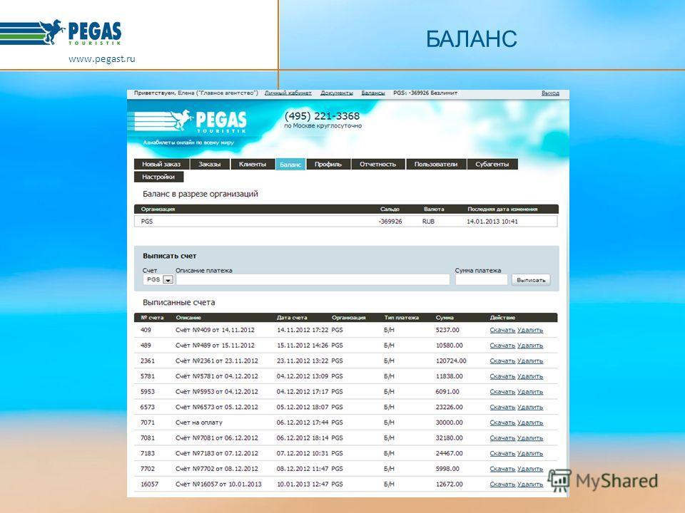 БАЛАНС www.pegast.ru