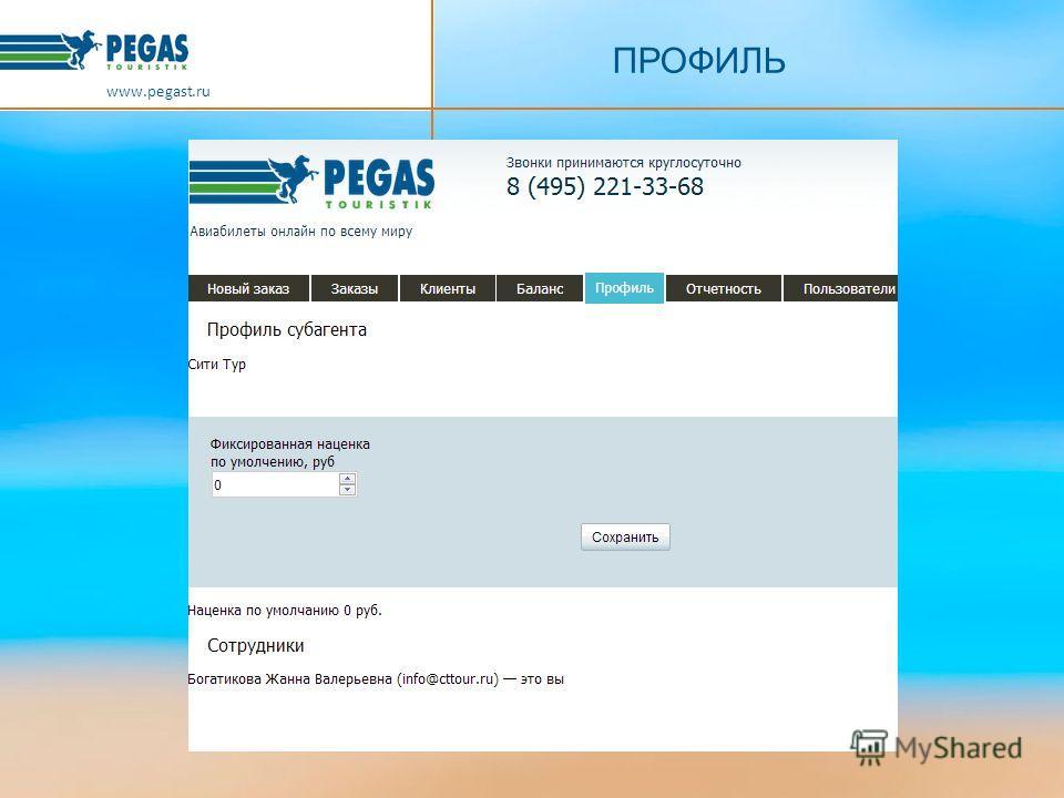 ПРОФИЛЬ www.pegast.ru