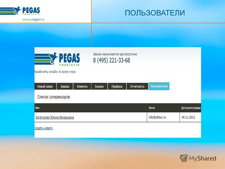 ПОЛЬЗОВАТЕЛИ www.pegast.ru