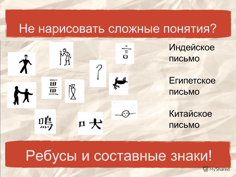 Не нарисовать сложные понятия? Ребусы и составные знаки! Индейское письмо Египетское письмо Китайское письмо