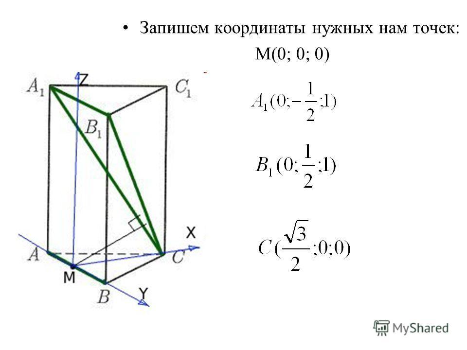 Запишем координаты нужных нам точек: М(0; 0; 0)