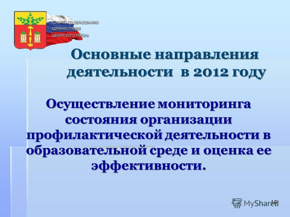 Осуществление мониторинга состояния организации профилактической деятельности в образовательной среде и оценка ее эффективности. 16 Основные направления деятельности в 2012 году