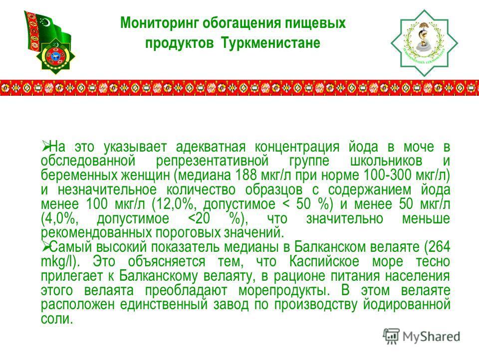 Мониторинг обогащения пищевых продуктов Туркменистане На это указывает адекватная концентрация йода в моче в обследованной репрезентативной группе школьников и беременных женщин (медиана 188 мкг/л при норме 100-300 мкг/л) и незначительное количество