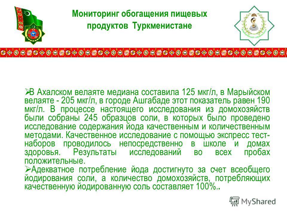 Мониторинг обогащения пищевых продуктов Туркменистане В Ахалском велаяте медиана составила 125 мкг/л, в Марыйском велаяте - 205 мкг/л, в городе Ашгабаде этот показатель равен 190 мкг/л. В процессе настоящего исследования из домохозяйств были собраны