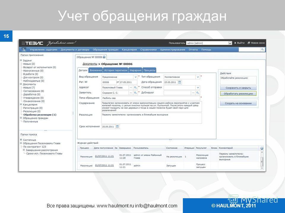 © HAULMONT, 2011 Учет обращения граждан 15 Все права защищены. www.haulmont.ru info@haulmont.com