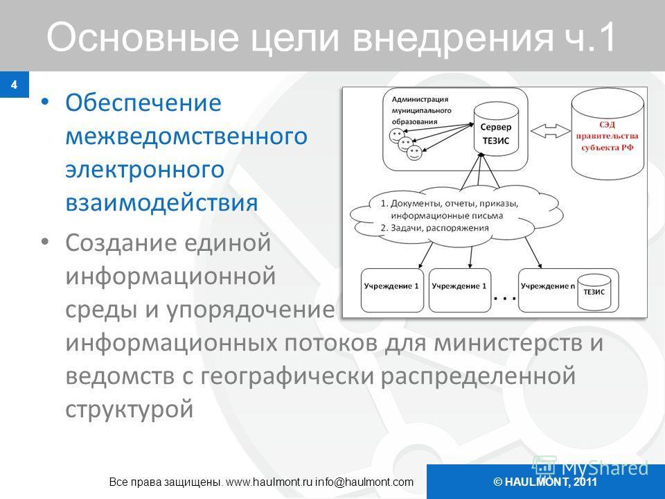 © HAULMONT, 2011 Основные цели внедрения ч.1 Обеспечение межведомственного электронного взаимодействия Создание единой информационной среды и упорядочение информационных потоков для министерств и ведомств с географически распределенной структурой 4 В