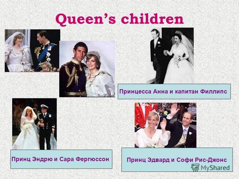 Queens children Принцесса Анна и капитан Филлипс Принц Эндрю и Сара Фергюссон Принц Эдвард и Софи Рис-Джонс