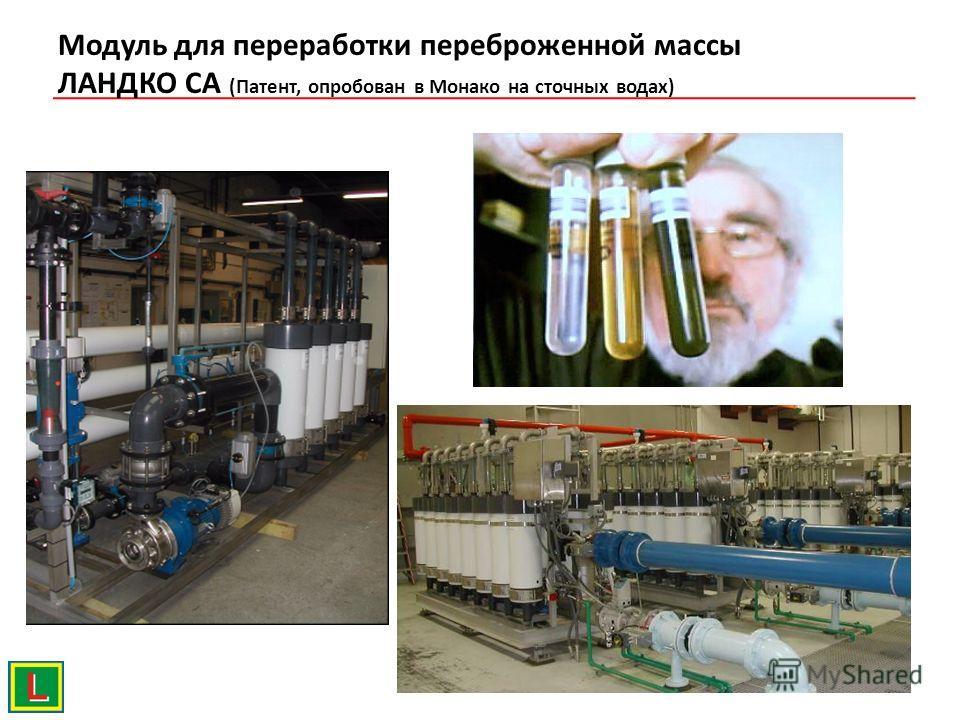 Модуль для переработки переброженной массы ЛАНДКО СА (Патент, опробован в Монако на сточных водах)