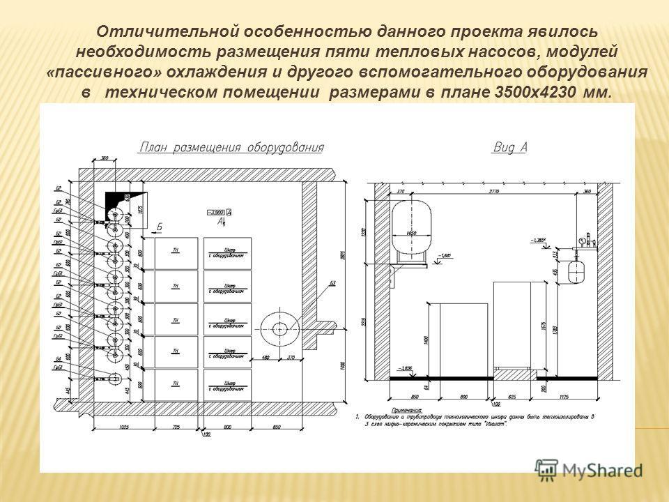 Отличительной особенностью данного проекта явилось необходимость размещения пяти тепловых насосов, модулей «пассивного» охлаждения и другого вспомогательного оборудования в техническом помещении размерами в плане 3500х4230 мм.
