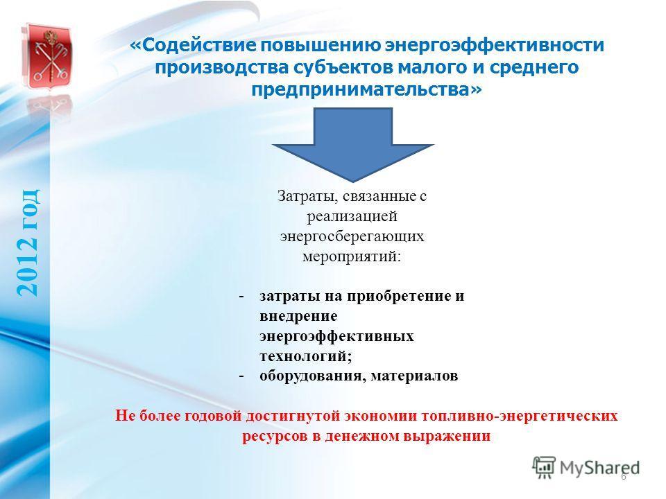 «Содействие повышению энергоэффективности производства субъектов малого и среднего предпринимательства» 6 2012 год Затраты, связанные с реализацией энергосберегающих мероприятий: -затраты на приобретение и внедрение энергоэффективных технологий; -обо