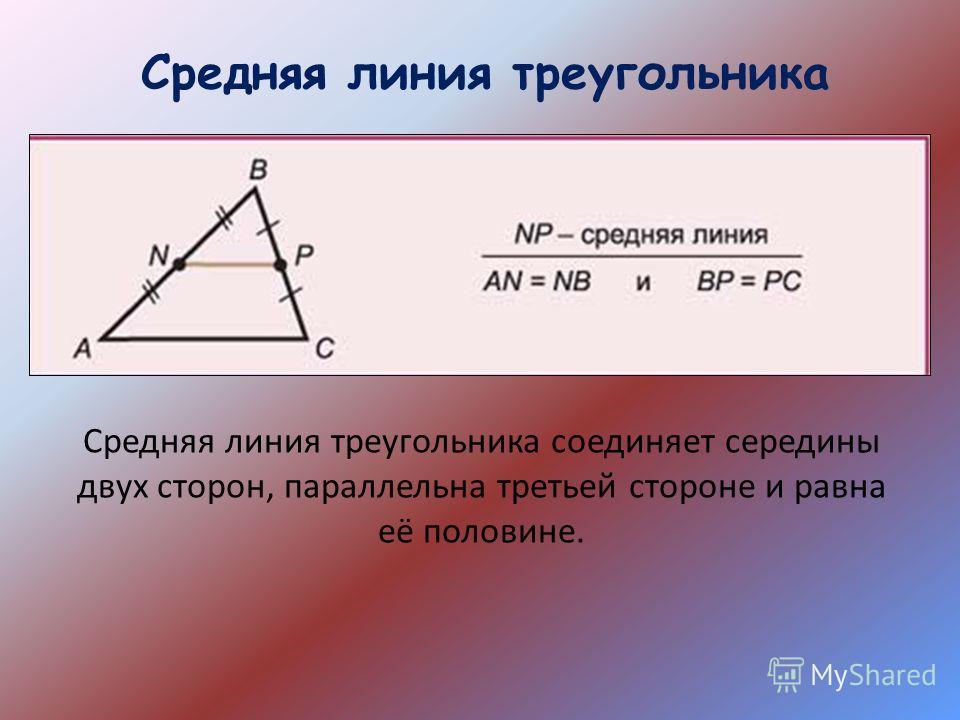 Средняя линия треугольника Средняя линия треугольника соединяет середины двух сторон, параллельна третьей стороне и равна её половине.