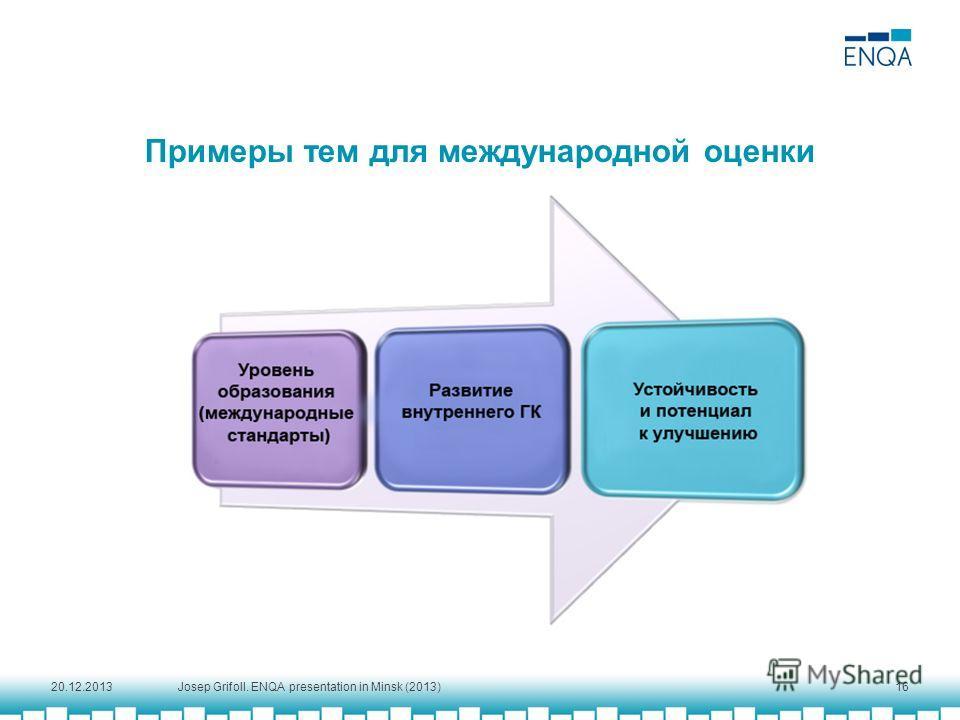 Примеры тем для международной оценки 20.12.201316 Josep Grifoll. ENQA presentation in Minsk (2013)