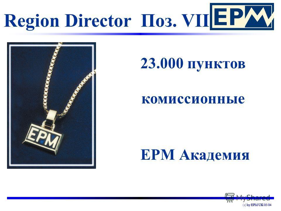 by EPM/UK/03/04(c) by EPM/UK/03/04 Region Director Поз. VII 23.000 пунктов комиссионные EPM Академия