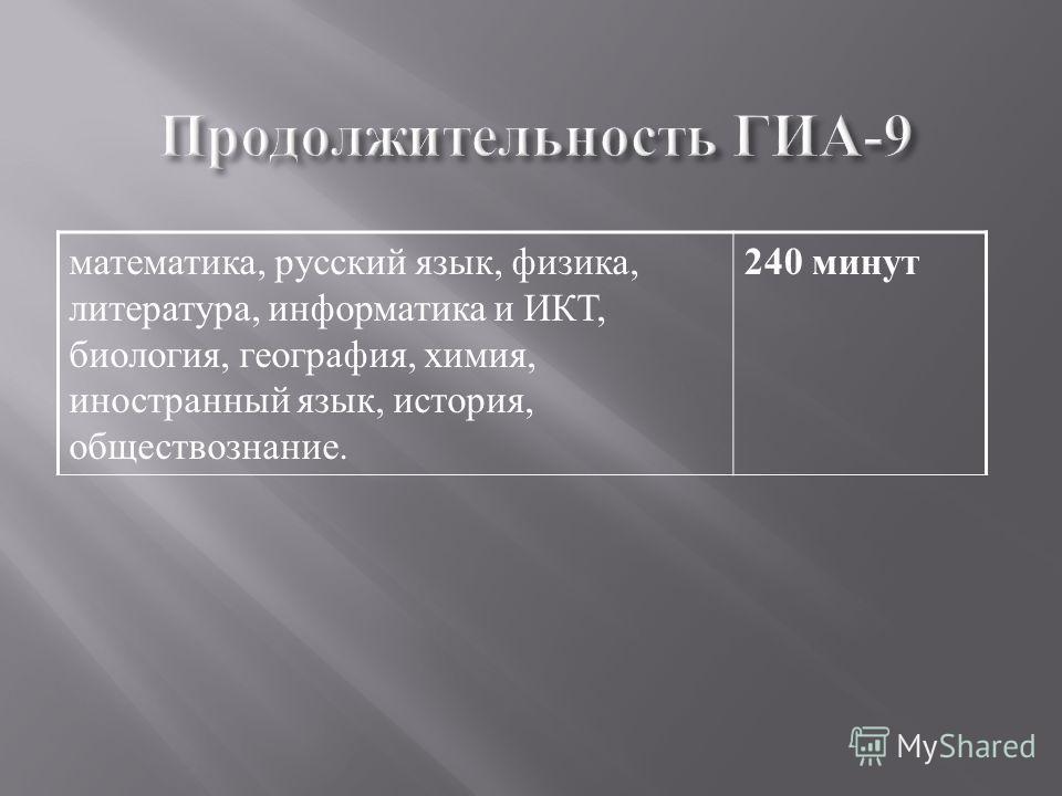 математика, русский язык, физика, литература, информатика и ИКТ, биология, география, химия, иностранный язык, история, обществознание. 240 минут