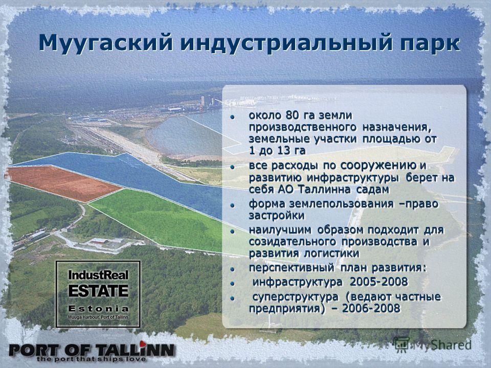 около 80 га земли производственного назначения, земельные участки площадью от 1 до 13 га все расходы по сооружению и развитию инфраструктуры берет на себя АО Таллинна садам форма землепользования –право застройки наилучшим образом подходит для созида