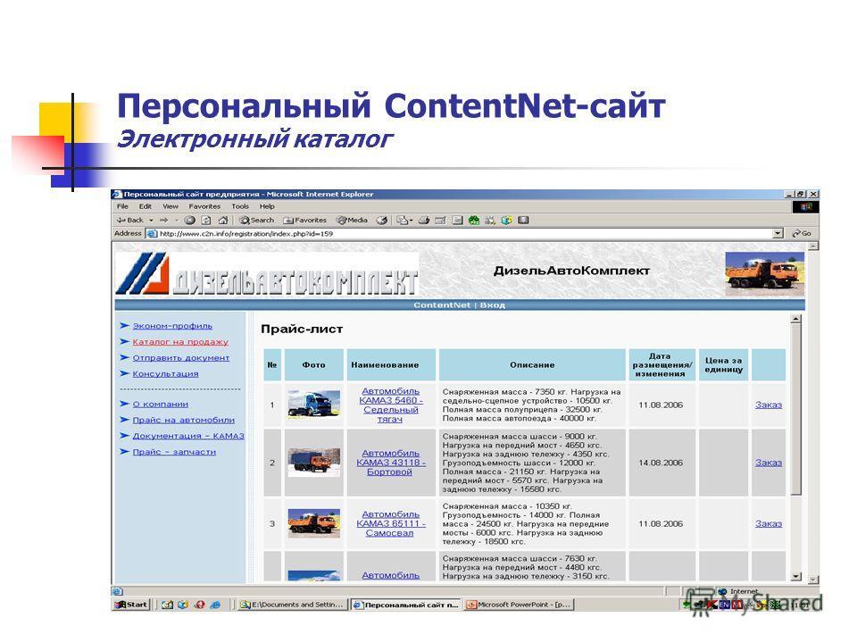 Персональный ContentNet-сайт Электронный каталог