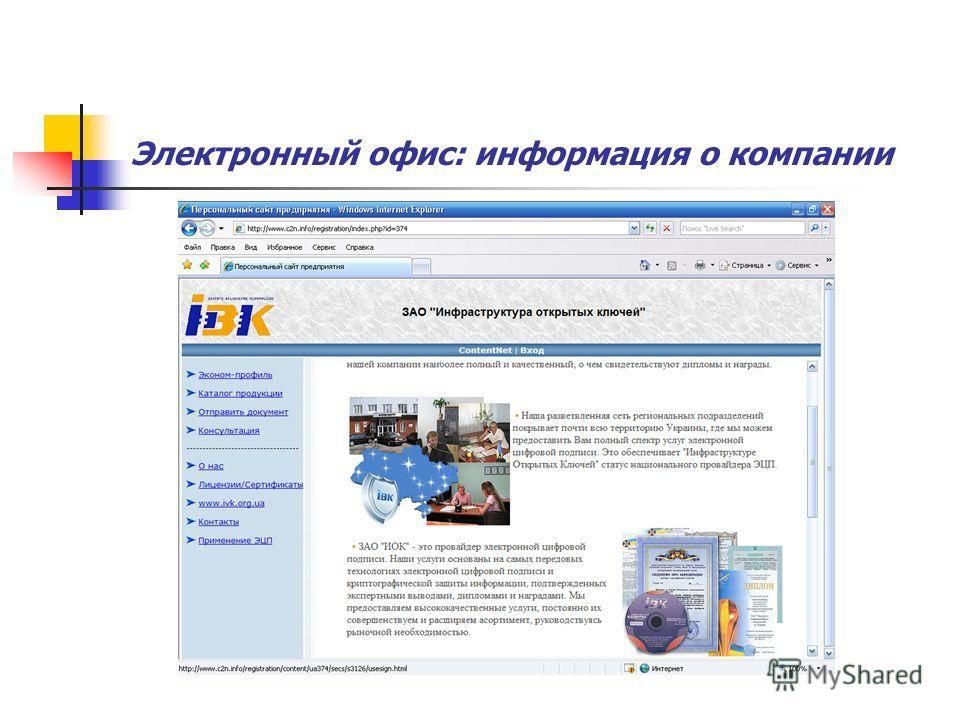Электронный офис: информация о компании