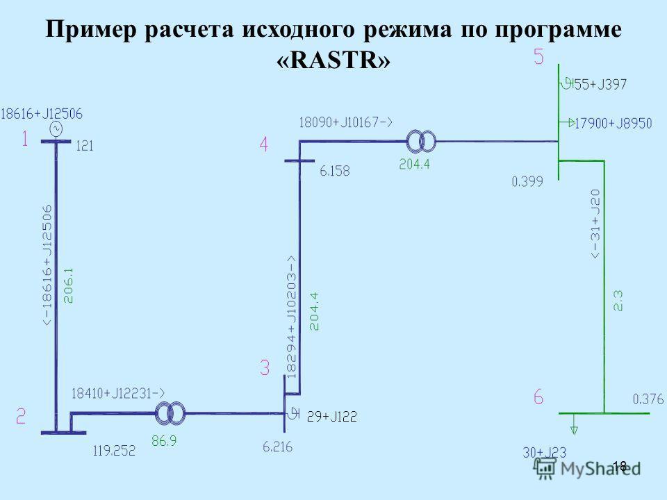 18 Пример расчета исходного режима по программе «RASTR»