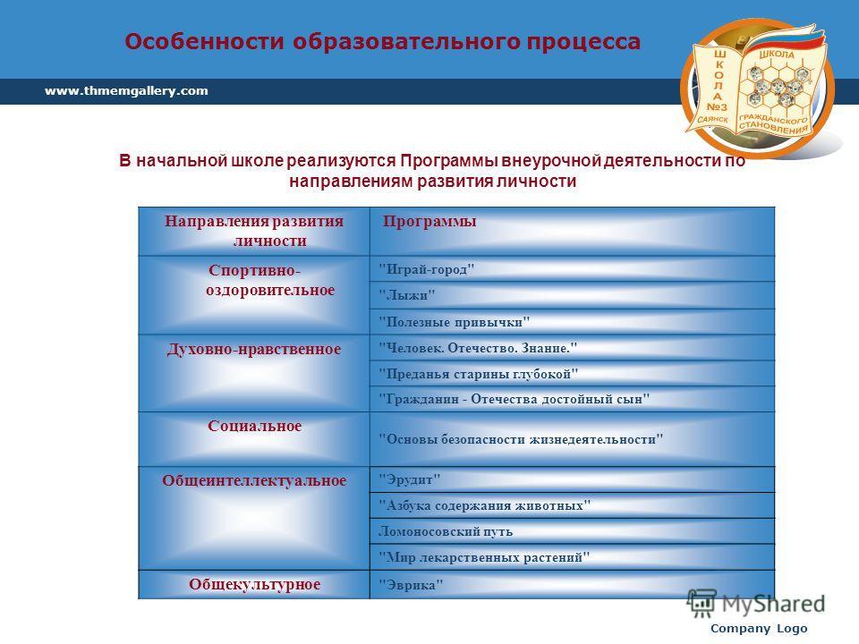 www.thmemgallery.com Company Logo Особенности образовательного процесса Направления развития личности Программы Спортивно- оздоровительное