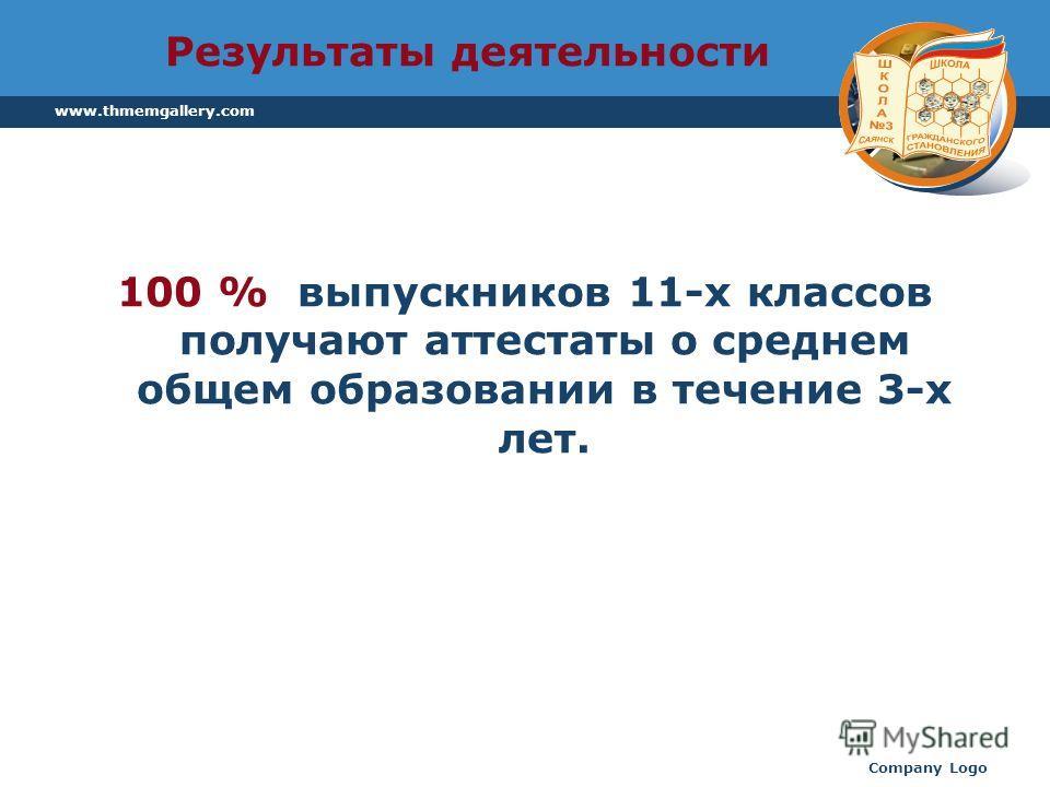 www.thmemgallery.com Company Logo Результаты деятельности 100 % выпускников 11-х классов получают аттестаты о среднем общем образовании в течение 3-х лет.