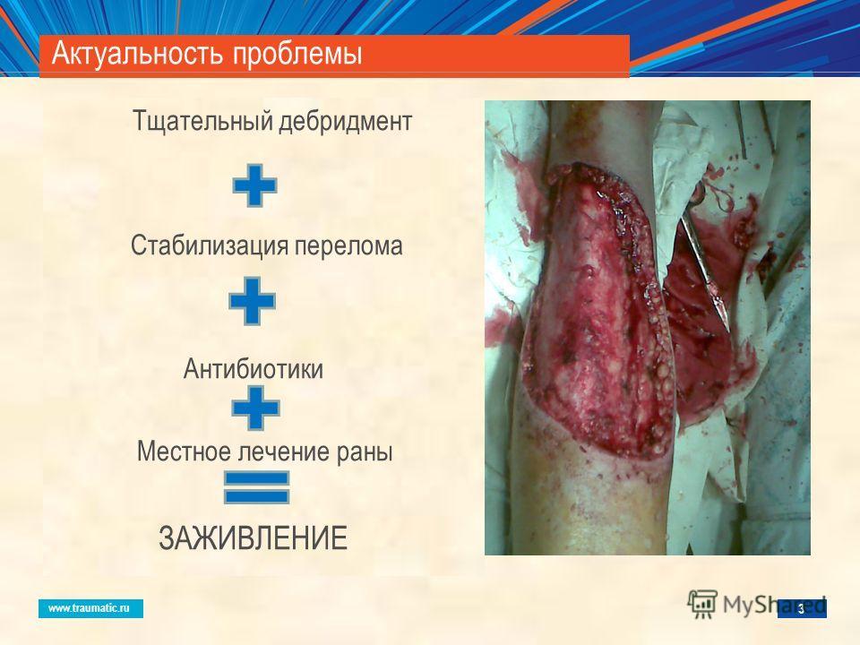 www.traumatic.ru Актуальность проблемы Тщательный дебридмент Стабилизация перелома Антибиотики Местное лечение раны ЗАЖИВЛЕНИЕ 3