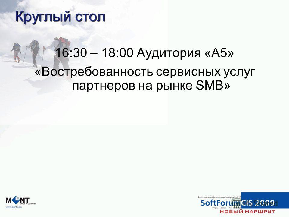 Круглый стол 16:30 – 18:00 Аудитория «A5» «Востребованность сервисных услуг партнеров на рынке SMB»