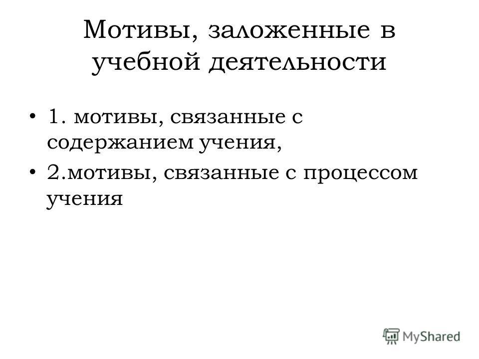 Мотивы, заложенные в учебной деятельности 1. мотивы, связанные с содержанием учения, 2.мотивы, связанные с процессом учения