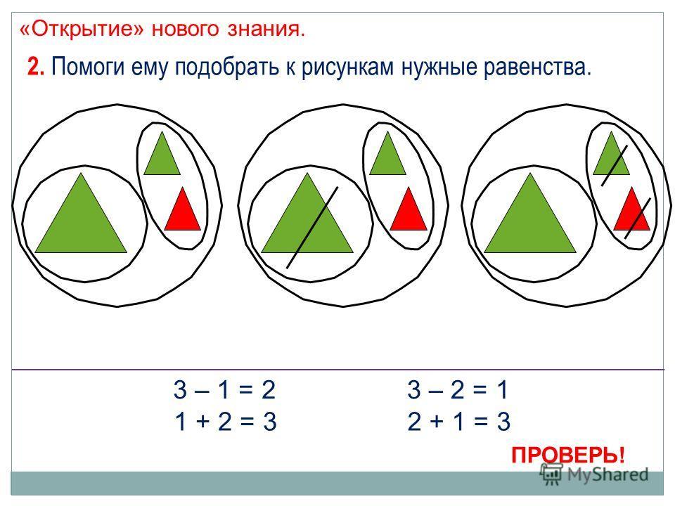 «Открытие» нового знания. 2. Помоги ему подобрать к рисункам нужные равенства. 3 – 1 = 2 1 + 2 = 3 3 – 2 = 1 2 + 1 = 3 ПРОВЕРЬ!