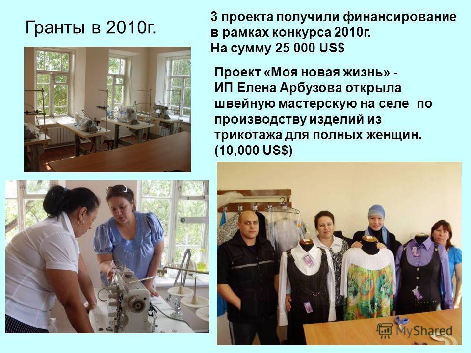 Гранты в 2010г. Проект «Моя новая жизнь» - ИП Елена Арбузова открыла швейную мастерскую на селе по производству изделий из трикотажа для полных женщин. (10,000 US$) 3 проекта получили финансирование в рамках конкурса 2010г. На сумму 25 000 US$