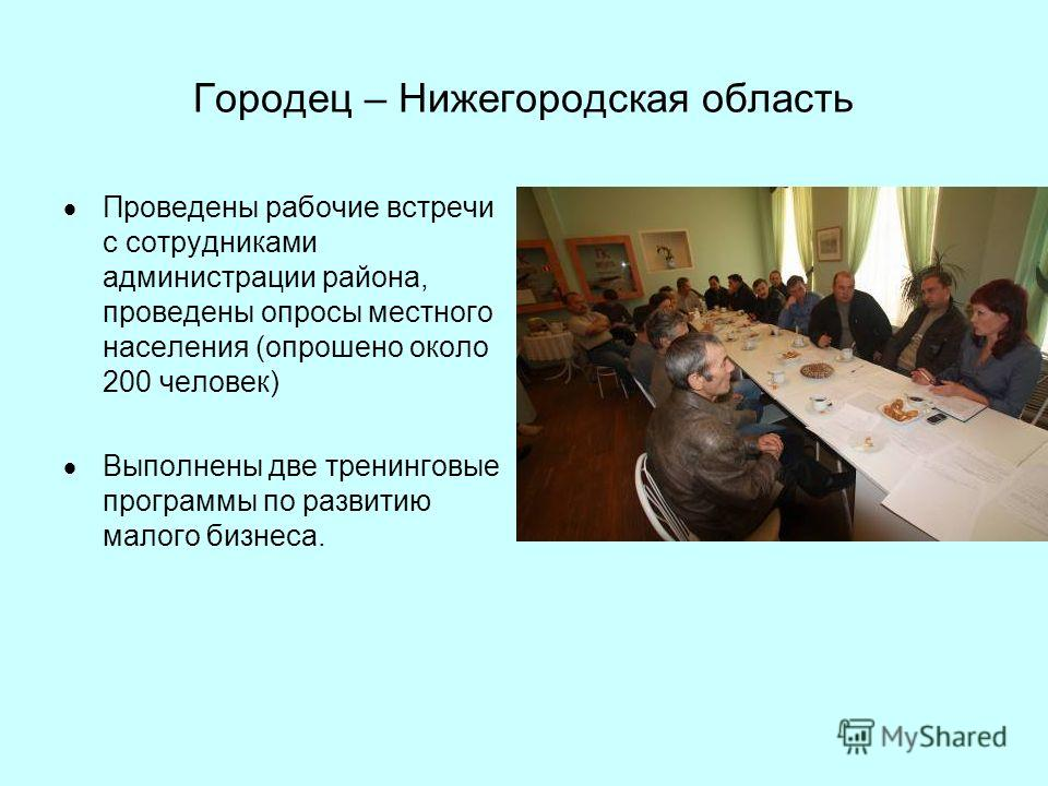 Городец – Нижегородская область Проведены рабочие встречи с сотрудниками администрации района, проведены опросы местного населения (опрошено около 200 человек) Выполнены две тренинговые программы по развитию малого бизнеса.