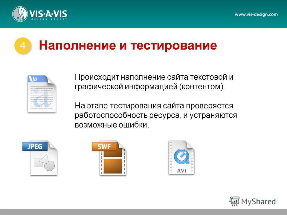 4 4 Наполнение и тестирование Происходит наполнение сайта текстовой и графической информацией (контентом). На этапе тестирования сайта проверяется работоспособность ресурса, и устраняются возможные ошибки.