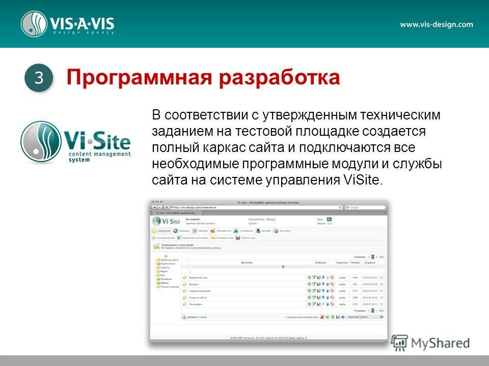 В соответствии с утвержденным техническим заданием на тестовой площадке создается полный каркас сайта и подключаются все необходимые программные модули и службы сайта на системе управления ViSite. 3 3 Программная разработка