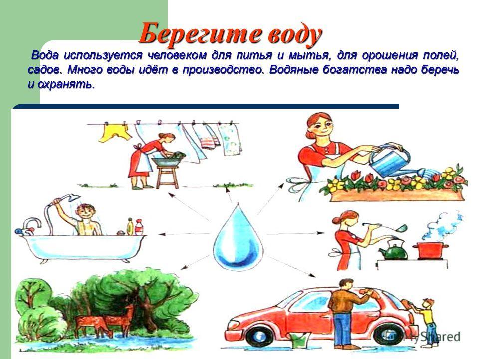 Вода используется человеком для питья и мытья, для орошения полей, садов. Много воды идёт в производство. Водяные богатства надо беречь и охранять. Вода используется человеком для питья и мытья, для орошения полей, садов. Много воды идёт в производст