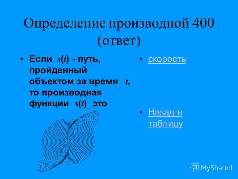 Определение производной 400 (ответ) Если s ( t ) - путь, пройденный объектом за время t, то производная функции s ( t ) это скорость Назад в таблицуНазад в таблицу