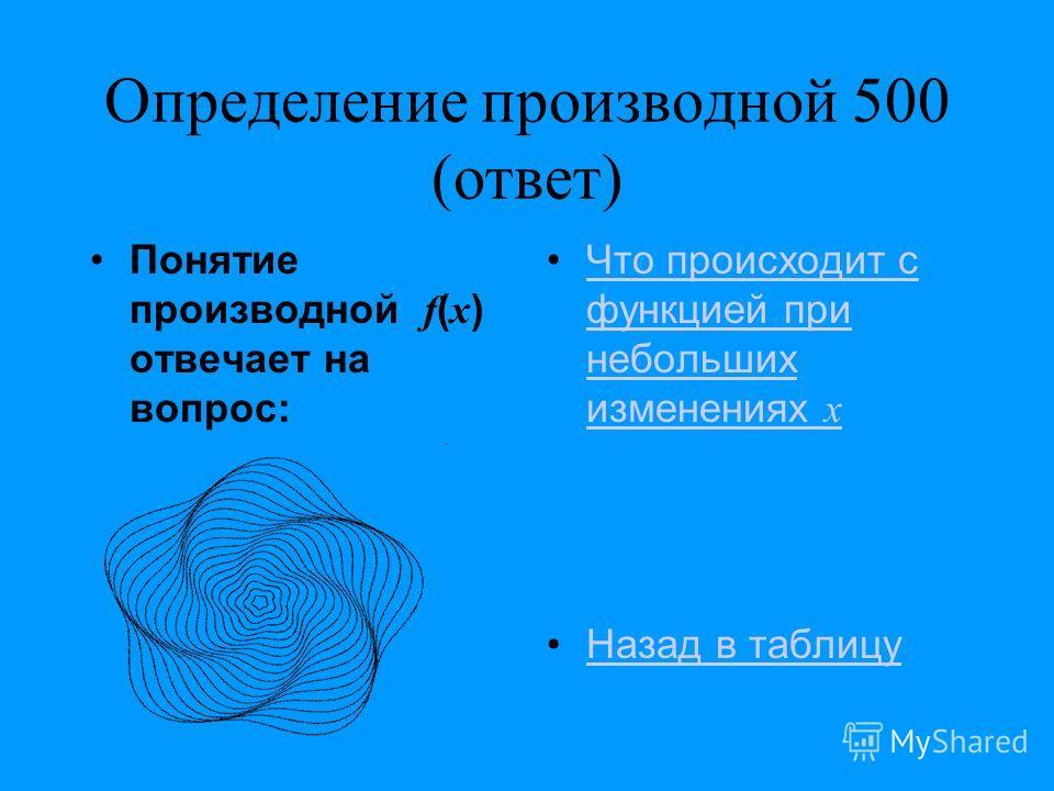 Определение производной 500 (ответ) Понятие производной f ( x ) отвечает на вопрос: Что происходит с функцией при небольших изменениях xЧто происходит с функцией при небольших изменениях x Назад в таблицу