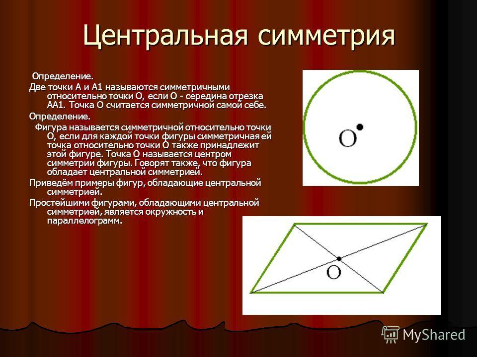 Центральная симметрия Определение. Определение. Две точки А и А1 называются симметричными относительно точки О, если О - середина отрезка АА1. Точка О считается симметричной самой себе. Определение. Фигура называется симметричной относительно точки О